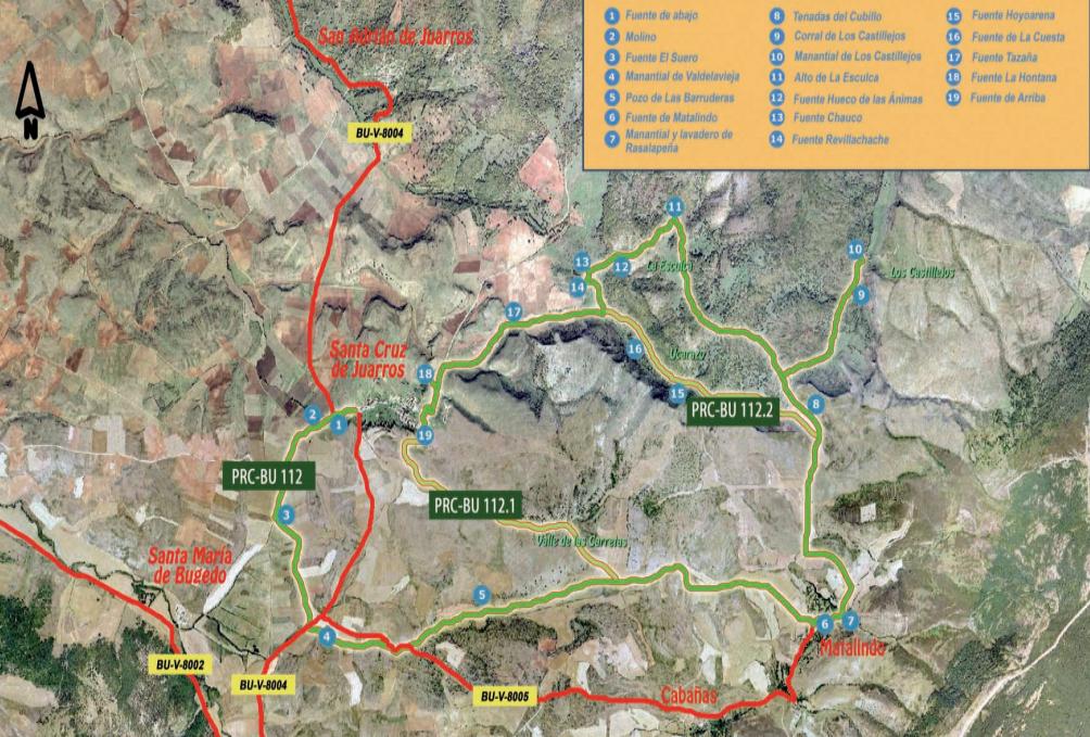 mapa sendero de los manantiales